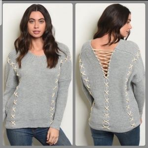 Sweaters - 💙Grey Ribbed Knit Sweater with Open Back💙